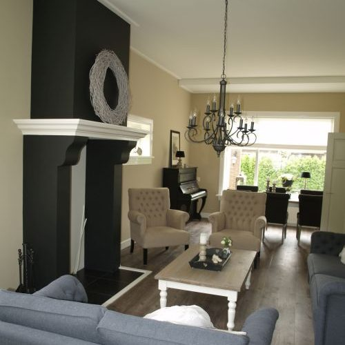 Hout haard vri interieur - Interieur decoratie modern hout ...