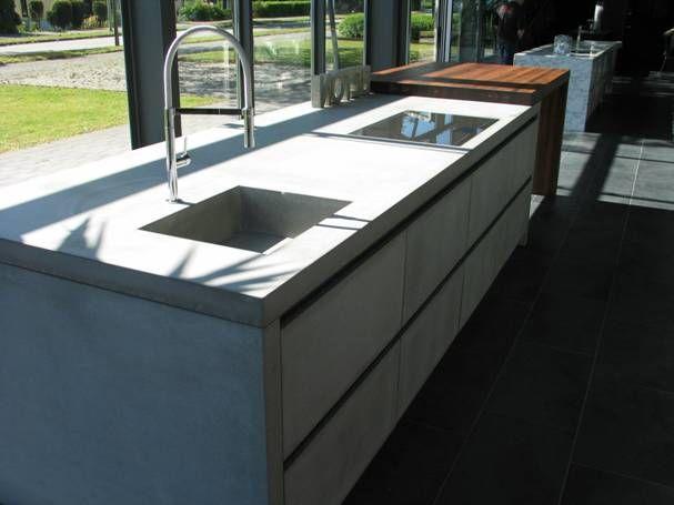 Keuken Met Betonblad : De betonnen werkbladen van FMM worden voorzien van een kleurloze