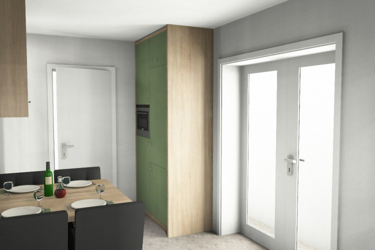 VRI interieurstyling: eiken keuken met groen in 3D interieur impressie