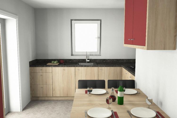 VRI interieur: keuken hoekopstelling eiken in 3D