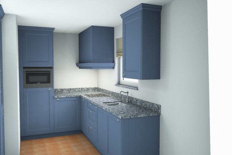 VRI interieur: blauwe landelijk klassieke keuken in 3D
