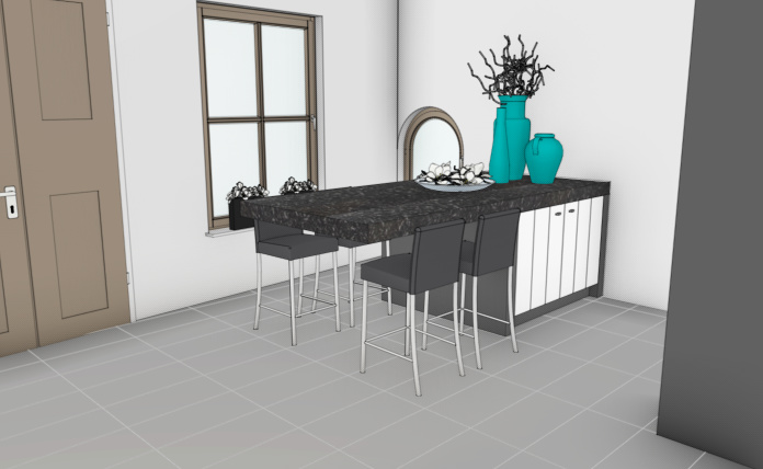 VRI interieur: eiland keuken 3D