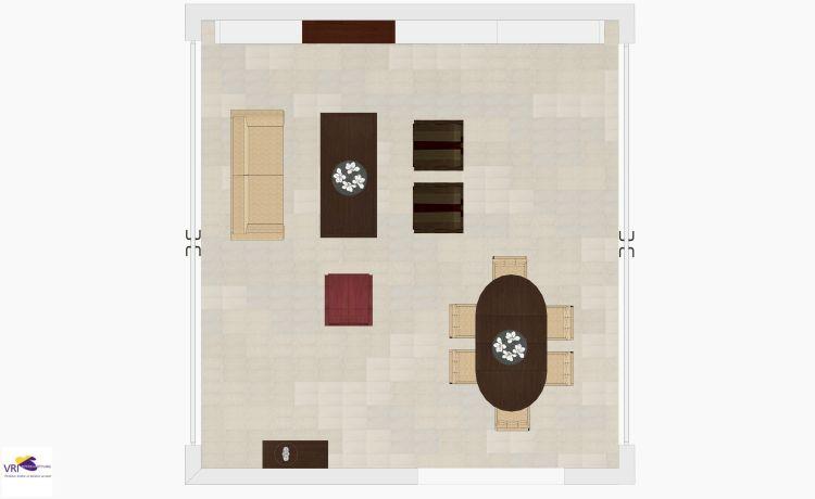 VRI interieur: kastenwand met boekenkasten en TV-meubel in 3D