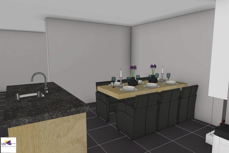 VRI interieurstyling: landelijke keuken met tafel en gashaard in 3D interieur impressie