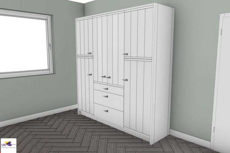 VRI interieurstyling: landelijke keuken in 3D impressie