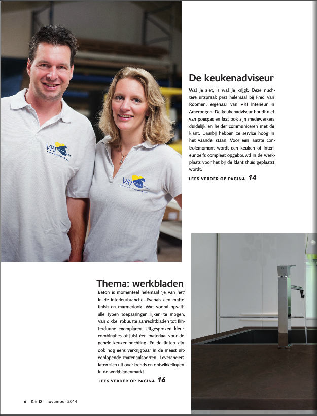 Interview in vakblad Keuken & Design | VRI-Interieur