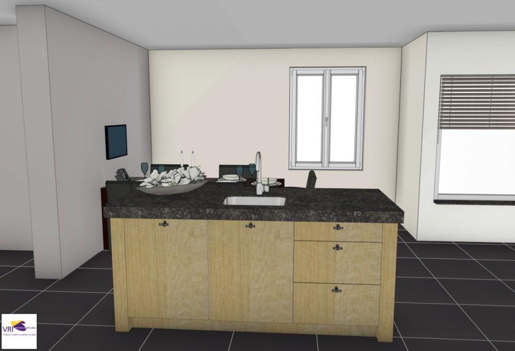 Keuken gemaakt in fijn bezaagd eiken met composiet werkblad : ontwerp ...